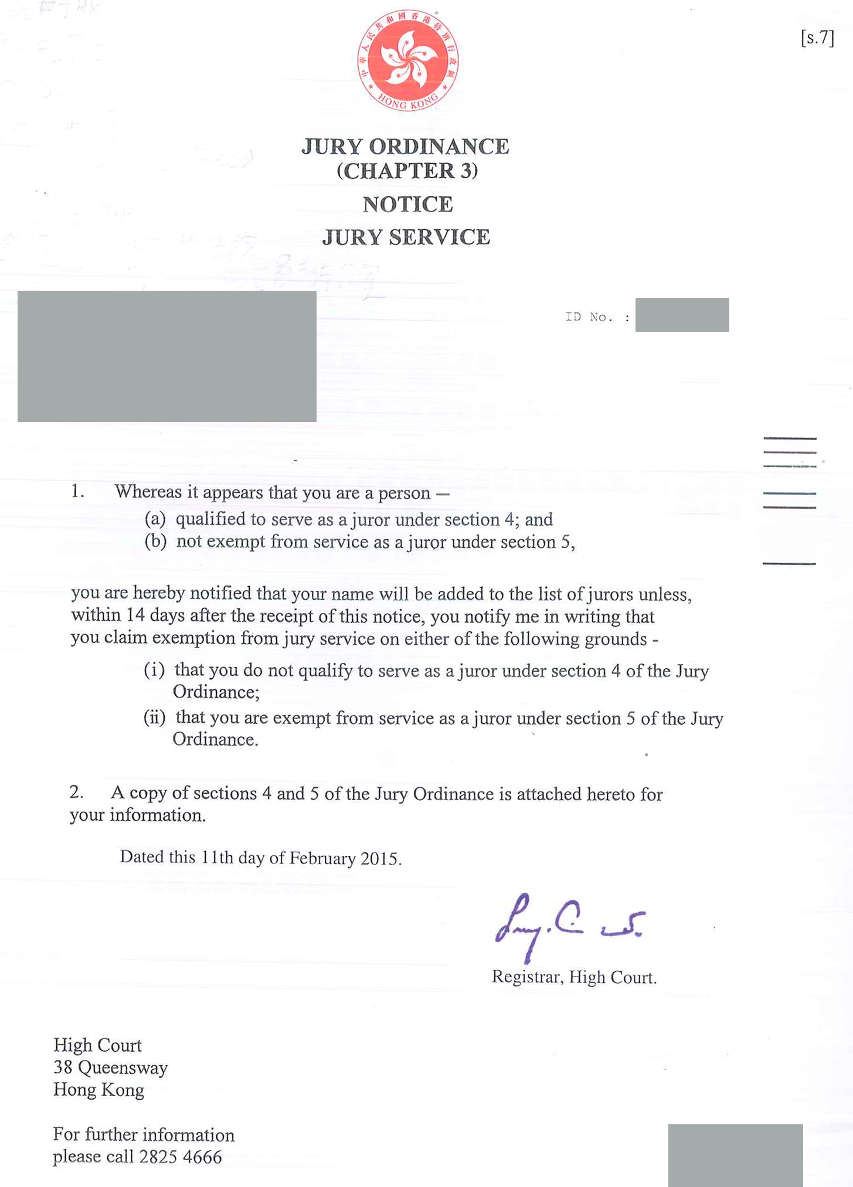Jury Ordinance (Chapter 3) Notice Jury Service